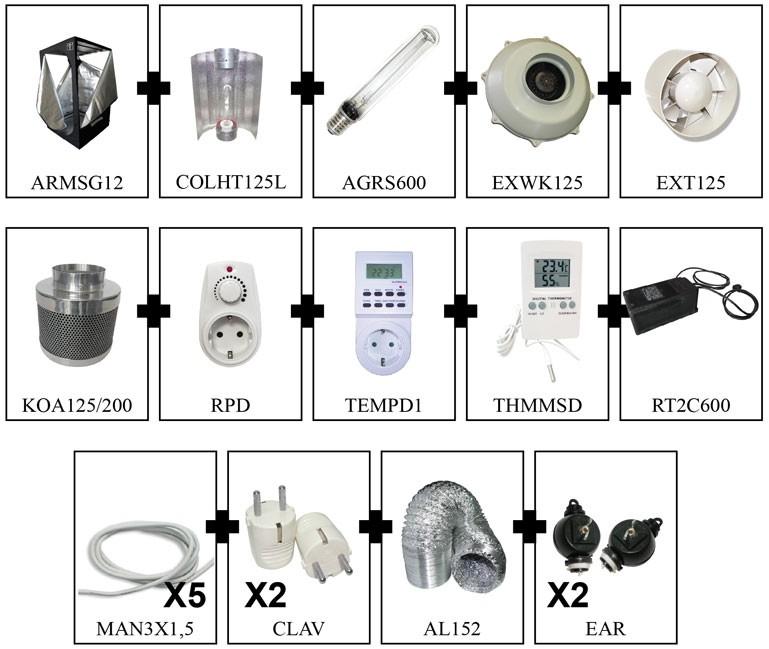 KIT ARMARIO CULTIVO INTERIOR CULTIBOX SG COMBI L 120x120x200cm 1