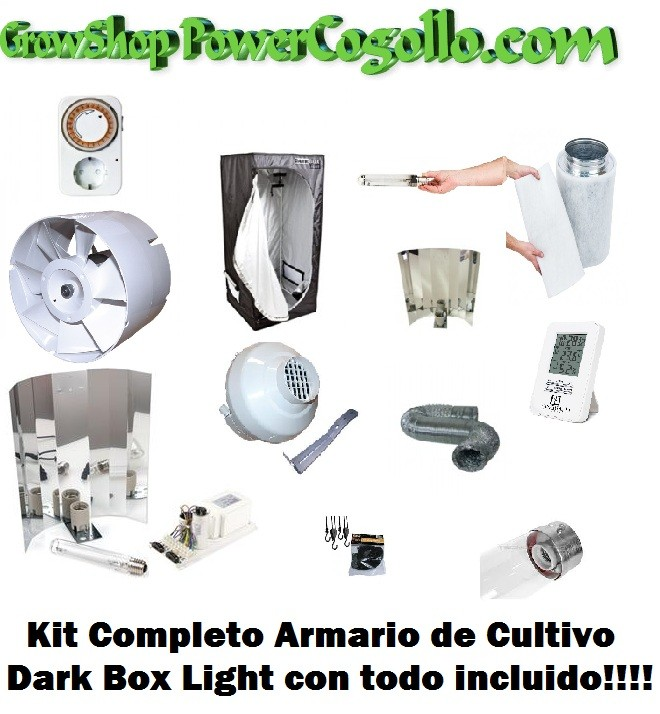 Kit Completo Armario Dark Box Light ECO 80 Todos los Amarios para el Cultivo Interior de Cannabis más barato en nuestros Grow Shop Doctor Cogollo Castellón  Kit Completo Armario Dark Box Light con todo lo necesario para cultivar Marihuana Kit Armario Comp 1