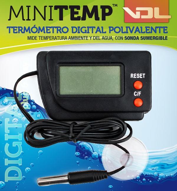 Termómetro MINITEMP polivalente mide temperatura ambiente y también del agua o sustrato 0
