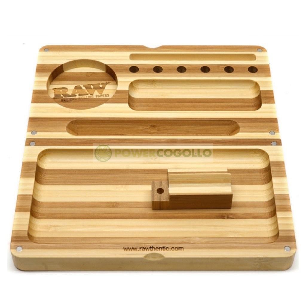 Bandeja RAW Backflip Bamboo Rolling Tray-Rayas 0