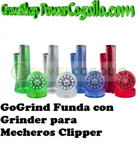 Mechero Clipper GOGRIND + FUNDA + GRINDER  2