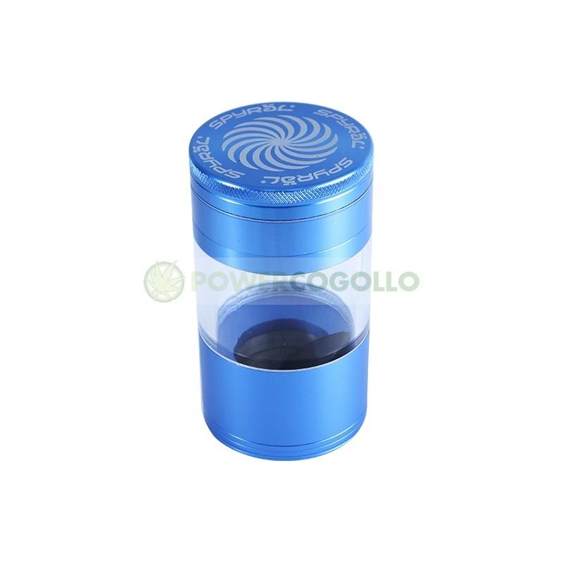 Grinder Spyral 4 partes Tamiz Transparente-azul 2