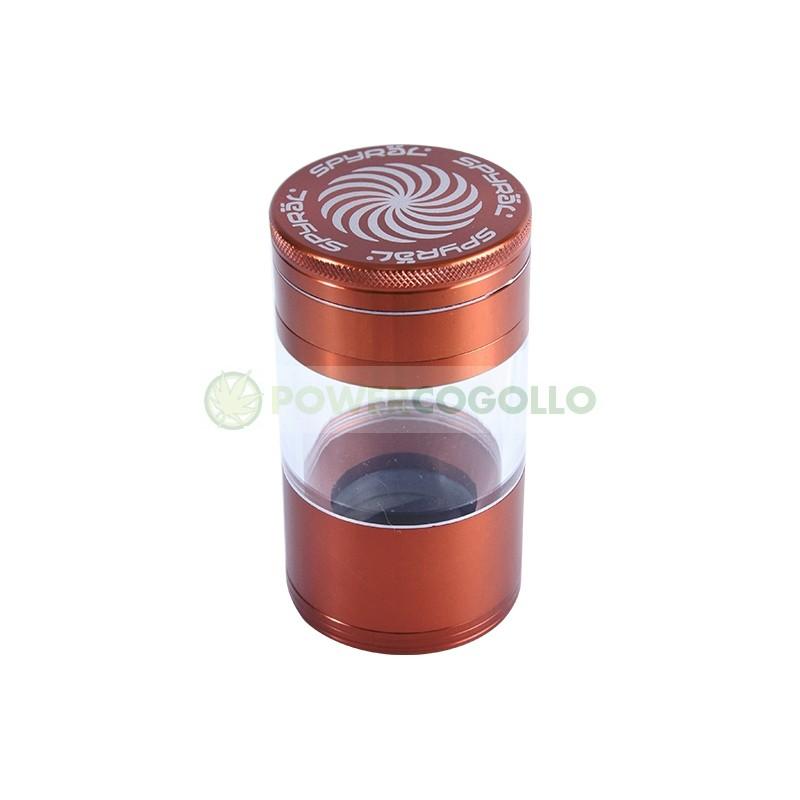 Grinder Spyral 4 partes Tamiz Transparente-cobre 4