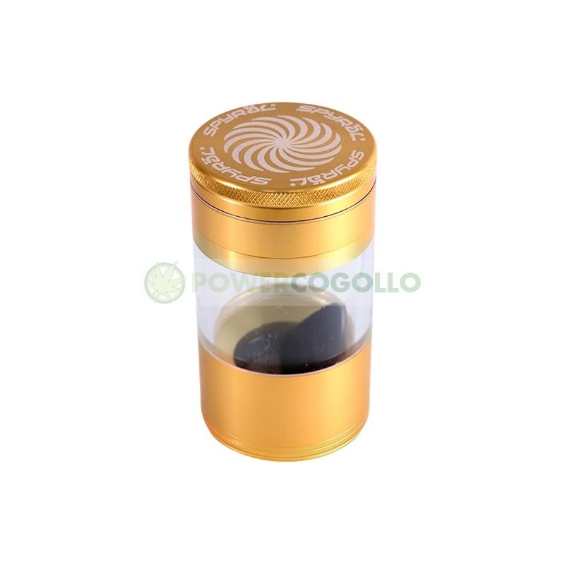 Grinder Spyral 4 partes Tamiz Transparente-dorado 6