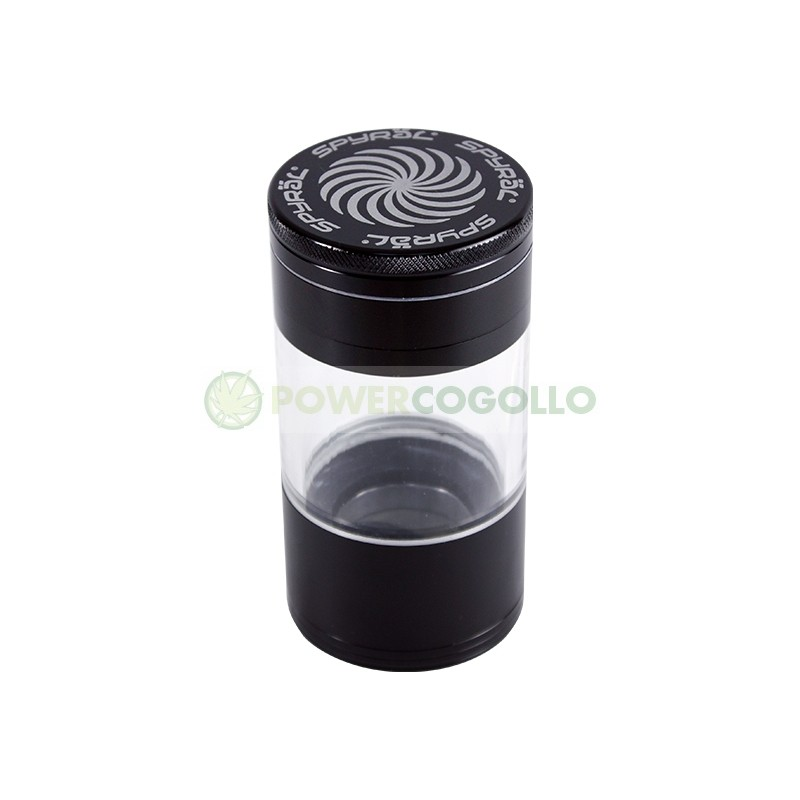 Grinder Spyral 4 partes Tamiz Transparente-negro 5