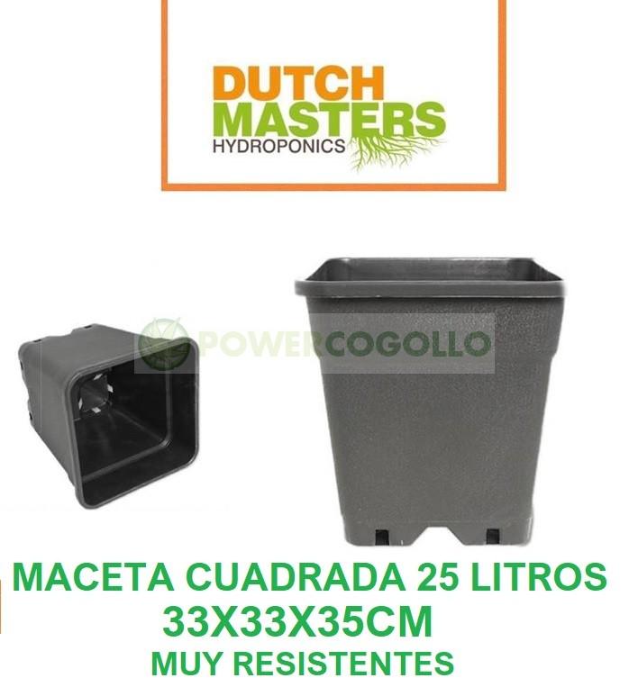 Maceta Cuadrada Negra 25 Litros (Dutch Masters) 0