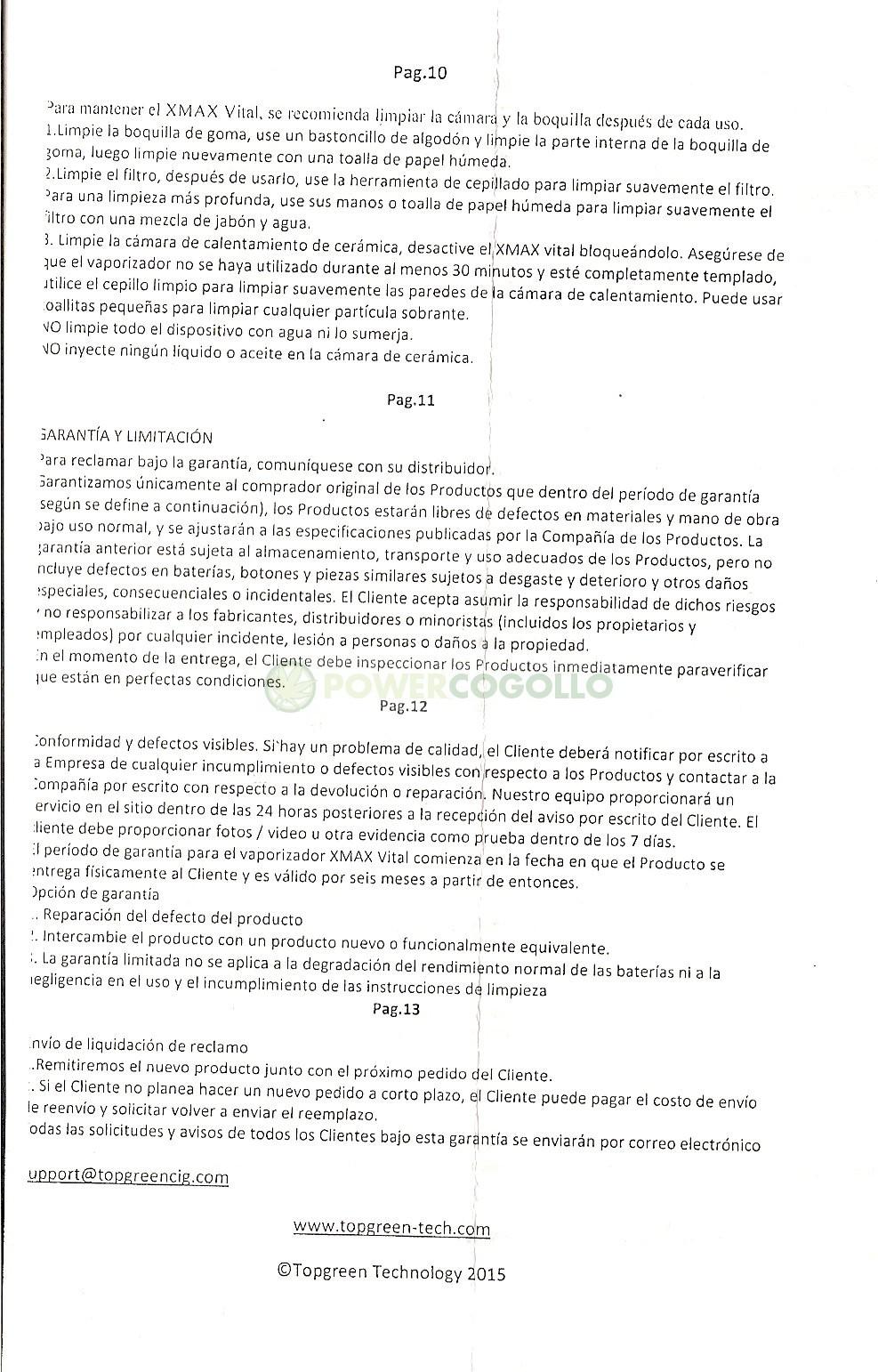 MANUAL INSTRUCCIONES VAPORIZADOR VITAL CELSIUS 8