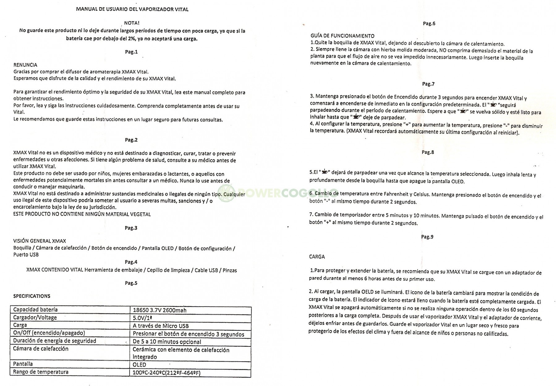 MANUAL INSTRUCCIONES VAPORIZADOR VITAL CELSIUS 7