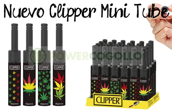 Mechero Clipper Mini Tube Leaves 1