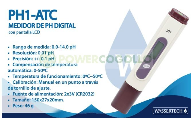 Medidor pH PH1 ATC (Wassertech) 0