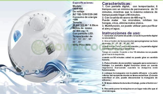 Ozonizador Ovni Aire y Agua (Piedra Difusora) 8w 3