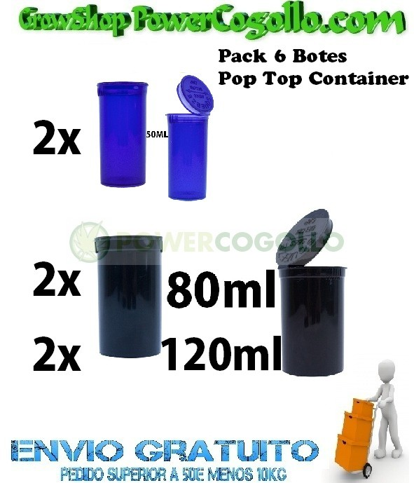 Pack 6 Botes Pop Top Container  0