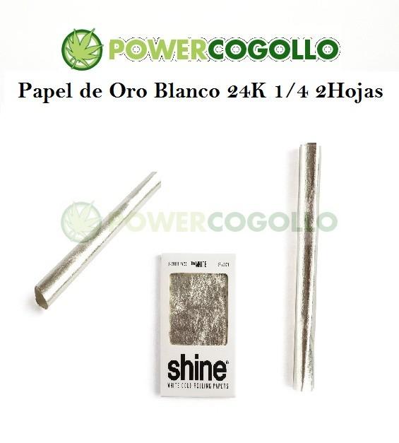 Papel de Oro Blanco 24K 1/4 2 Hojas 1