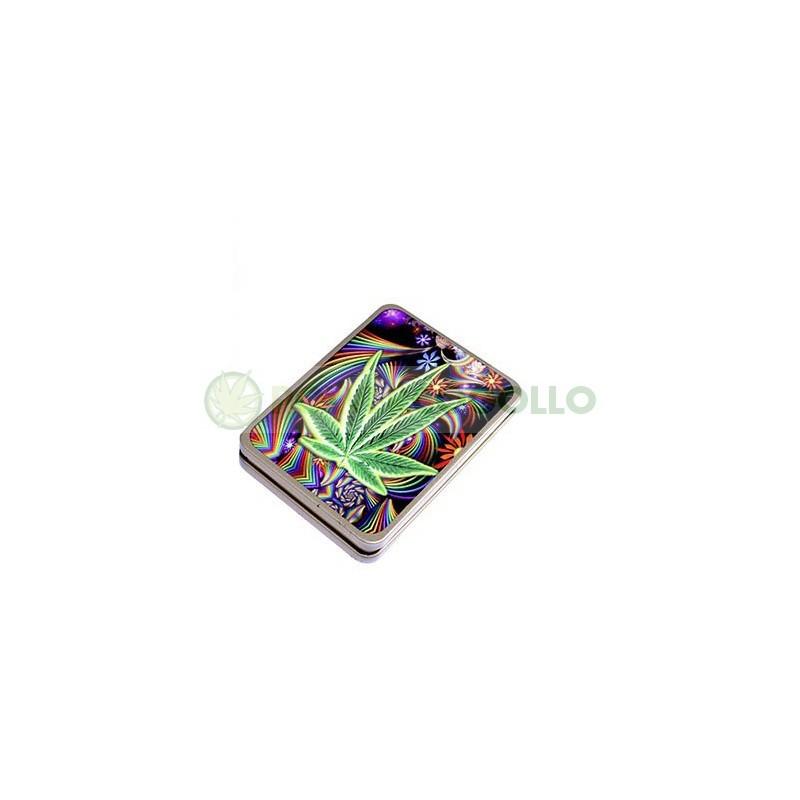 Pitillera Encendedor USB Hoja Psicodelica 1