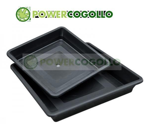 Plato cuadrado negro 20/22 cm para cultivo Marihuana en Maceta 0
