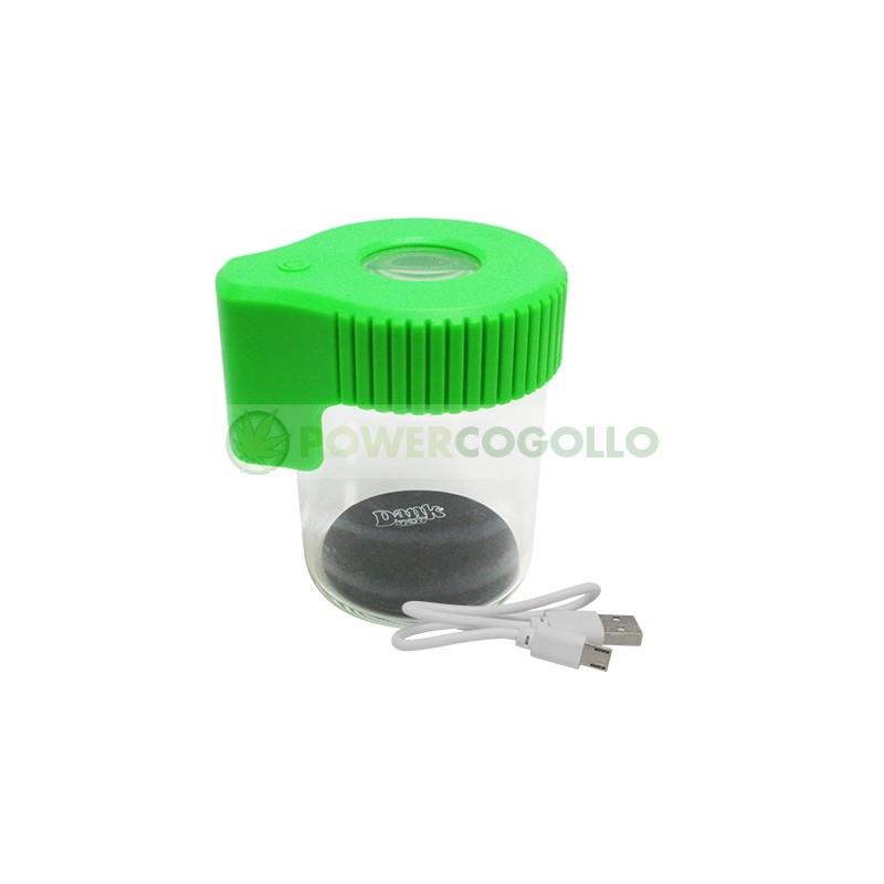 Tarro de Vidrio con Lupa y LED Dank 420-VERDE 2