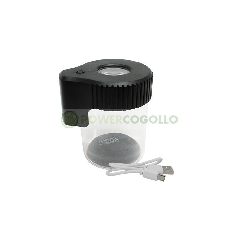 Tarro de Vidrio con Lupa y LED Dank 420-NEGRO 0