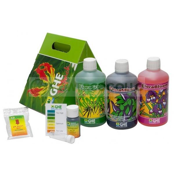 TriPack Flora Agua Blanda de General Hydroponics Abono cultivo marihuana 0