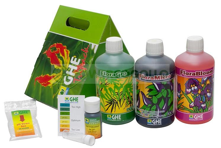 TriPack Flora Series Agua Dura Abono para el Cultivo de Marihuana 0