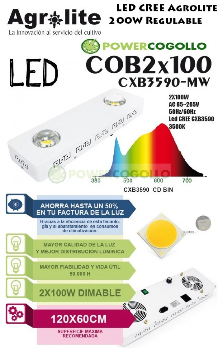 LED CREE Agrolite 200W Regulable