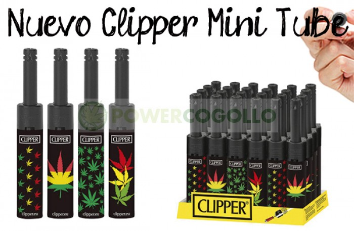 Mechero Clipper Mini Tube Leaves