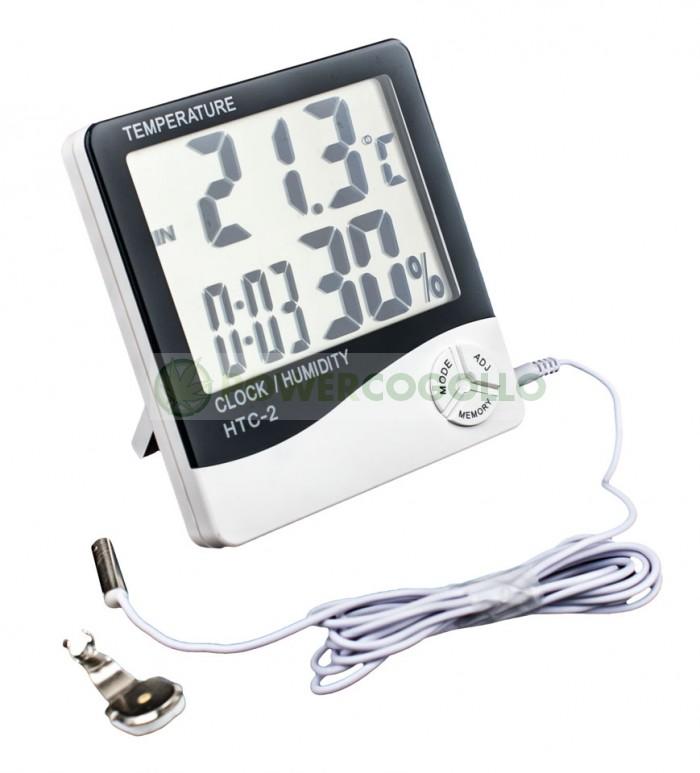 Termómetro Higrómetro Digital con Sonda Pantalla Grande (VDL) para control de temperatura en el cultivo Interior