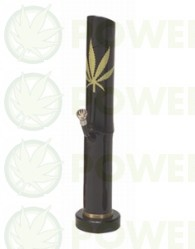 Bong Bambú Hoja de Marihuana Negro 35cm