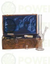 Bong Cristal 37cm con Caja Madera Labrada