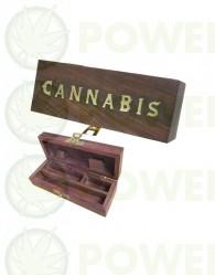 Caja de Madera Rectangular Cannabis 14x5 cm