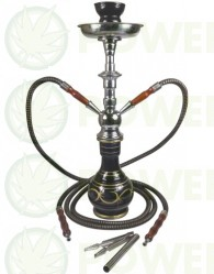 CACHIMBA ARGUILA SHABI SHISHA 47 cm NEGRA 2 SALIDAS