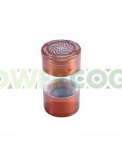 Grinder Spyral 4 partes Tamiz Transparente-cobre