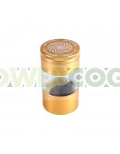 Grinder Spyral 4 partes Tamiz Transparente-dorado