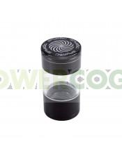 Grinder Spyral 4 partes Tamiz Transparente-negro