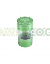 Grinder Spyral 4 partes Tamiz Transparente-verde