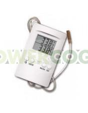 Termómetro Higrómetro Digital Máx/Mín. Sonda (Cornwall) para medir temperatura y humedad en el cultivo interior de cannabis