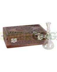 Bong Cristal 15cm con Caja de Madera Labrada