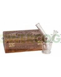 Bong Cristal 17cm con Caja de Madera Labrada