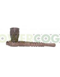 Pipa de Madera de palo de rosa Grabada 12,7cm con Tiro  Barril