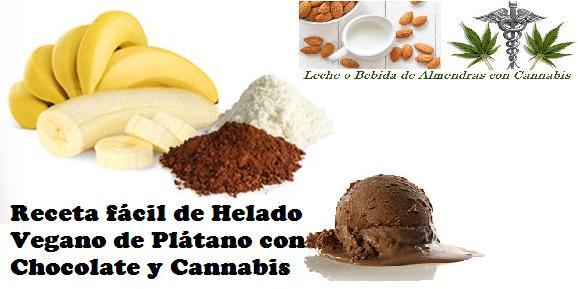 Ingredientes para receta de HELADO VEGANO CHOCOLATE Y PLATANO